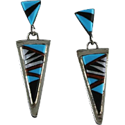 Navajo Artist Wilber Wauneka Sterling Inlay Earrings