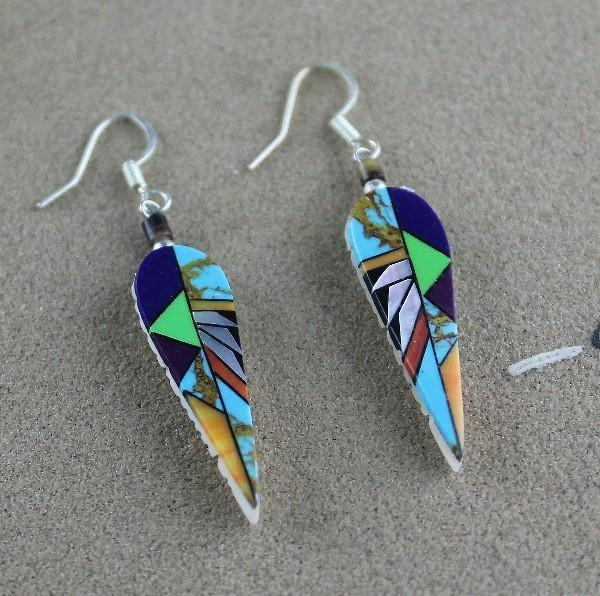 Zuni Intricate Overlay Design Earrings