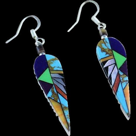 Zuni Intricate Overlay Design Earrings