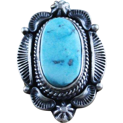 Large Striking Navajo Sterling and Turquoise Ring