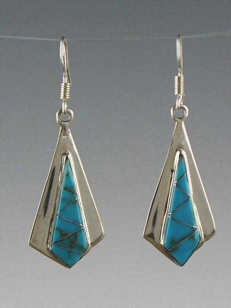 Zuni Sterling and Turquoise Inlay Earrings