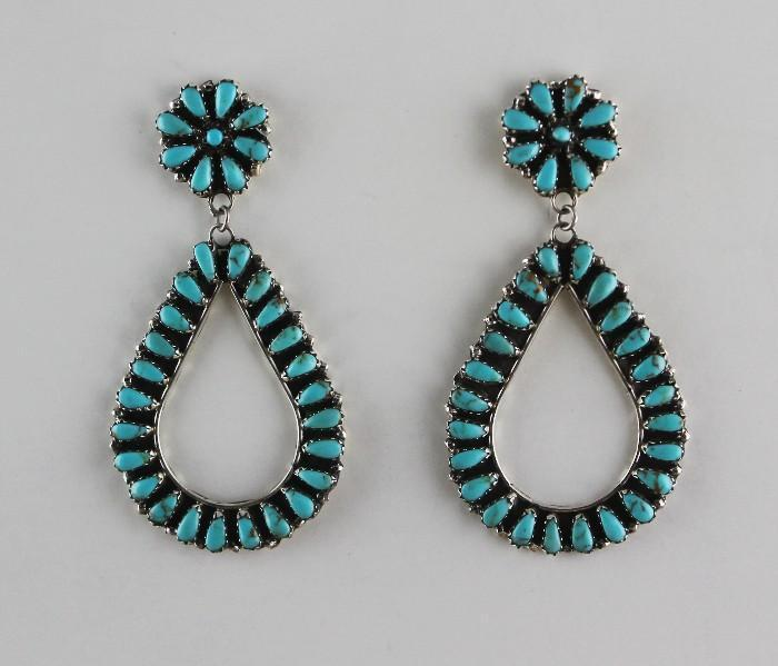 Extra Long Native American Turquoise and Sterling Earrings