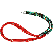 White Fox Creation Coral and Turquoise Necklace