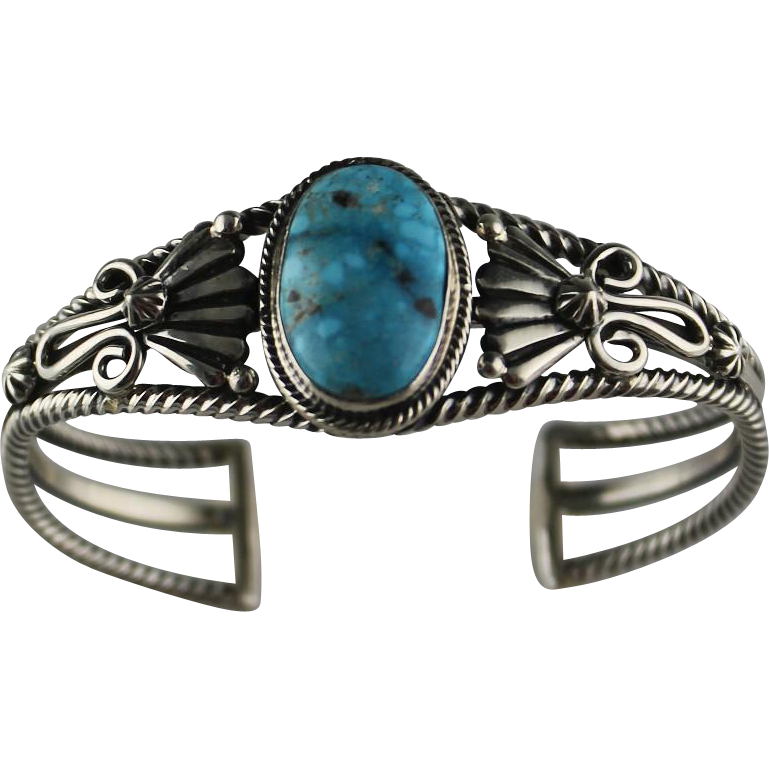 Kingman Turquoise and Sterling Bracelet by Navajo Artist Harold Tahe