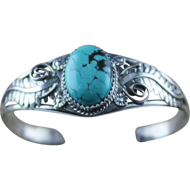 Morenci Turquoise and Sterling Bracelet by Phillip Yazzie