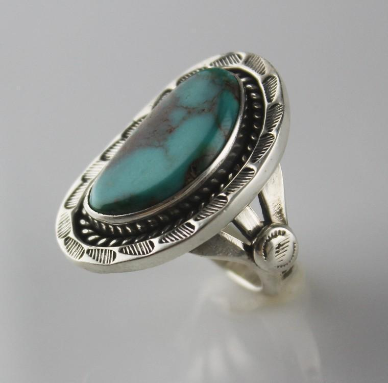 Turquoise and Sterling Navajo Ring by T. J. Begay