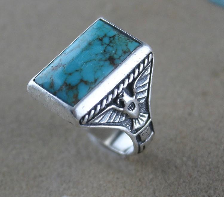 Cast Sterling and Turquoise Thunderbird Ring