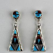 Zuni Inlay Earrings by Wilson and Carolyn Niiha