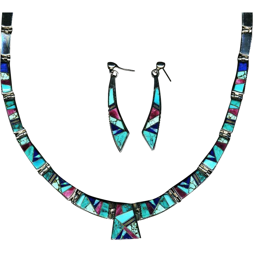 Exquisite Touch of Santa Fe  Multi-Stone Sterling Necklace/Earring Set