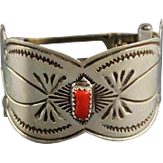 Navajo Sterling and Coral Hair Clip