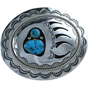 Sterling and Turquoise Overlay Belt Buckle by Wilbert Muskett Sr.