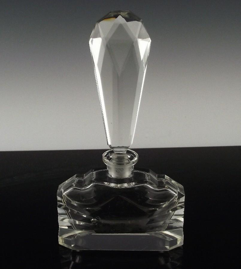 Czechoslovakia Crystal Perfume Bottle with Extra Tall Stopper