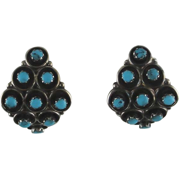 Zuni Sterling and Turquoise Petite Point Earrings