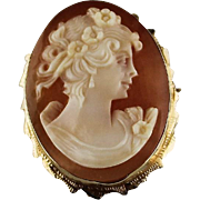 Hand Carved Cameo in 14k Gold Setting
