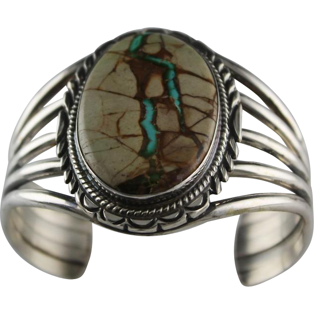 Navajo Sterling and Boulder Turquoise Bracelet by Thomas Francisco