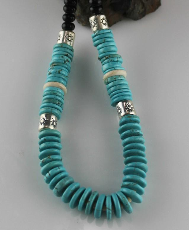 """From Dawn to Midnight"" Turquoise and Onyx Necklace"