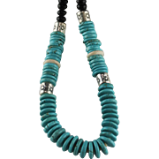 """""""From Dawn to Midnight"""" Turquoise and Onyx Necklace"""