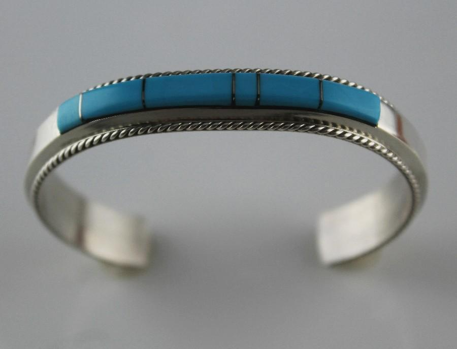 Channel Inlay Bracelet by Fannie Platero