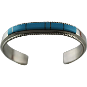 Channel Inlay Bracelet by Fannie Platero