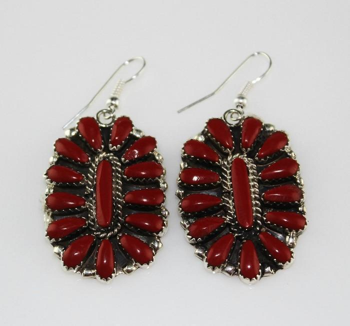 Zuni Coral Teardrop Earrings