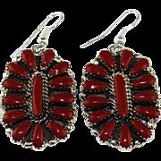 Zuni Coral Teardrop Earrings