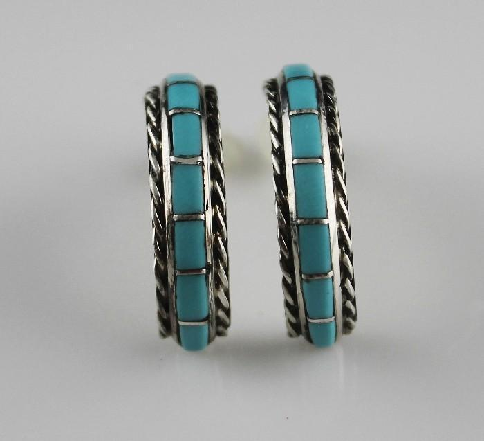 Zuni Arched Channel Inlay Earrings