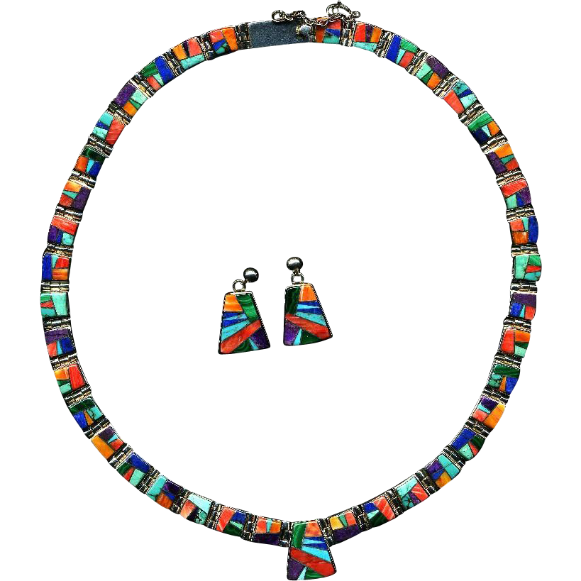 Exquisite Navajo Multi-Stone Sterling Necklace/Earring Set