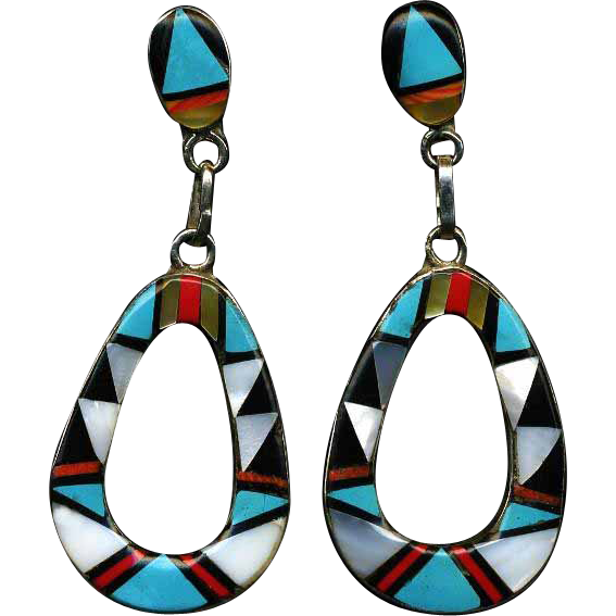 Jazzie Zuni Inlay Dangle Earrings