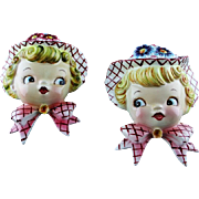 Adorable 1950's Miss Daisy Wall Pocket Set - Red Tag Sale Item