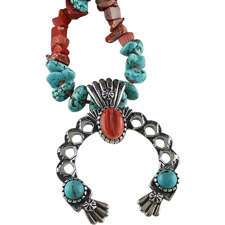 Turquoise and Spiny Oyster Naja Necklace