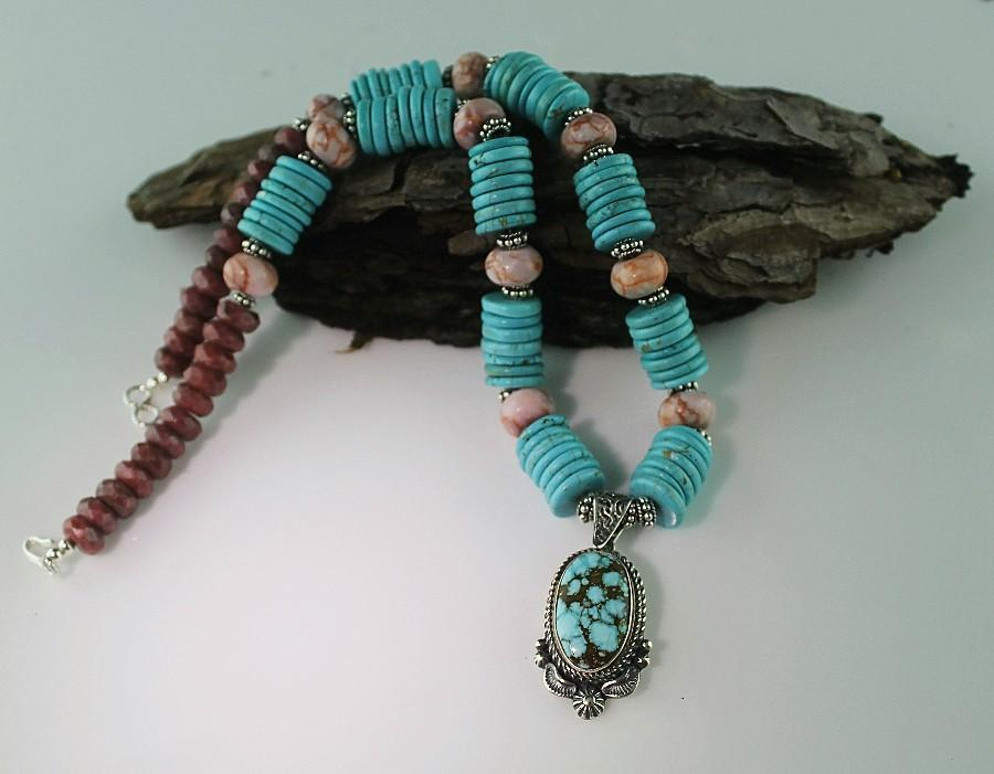 Navajo Spieder Web Turquoise Pendent on Turquoise Disks