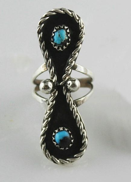 Old Navajo Turquoise and Sterling Ring