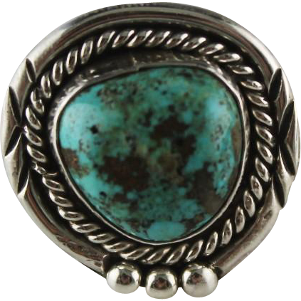 Sterling and Turquoise Navajo Ring
