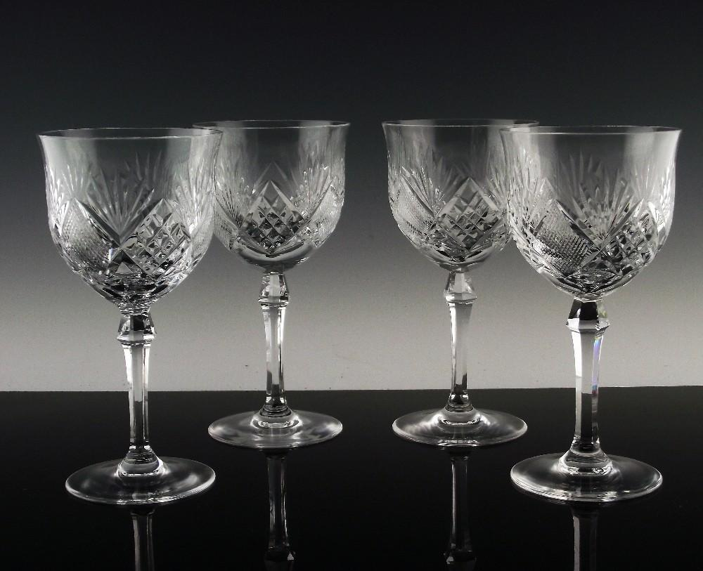 SIGNED:  Marquise Water/Wine Glasses by Josair Crystal
