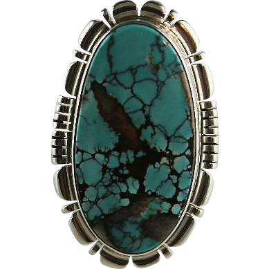 Navajo Sterling and Basalt Turquoise Ring