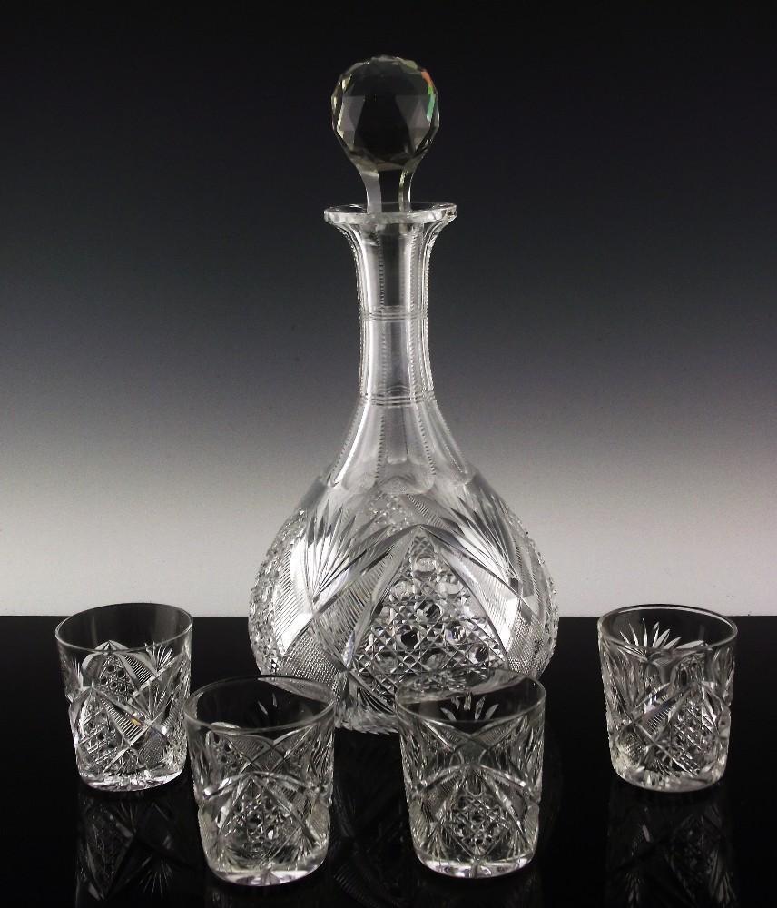 J. Hoare American Brilliant Decanter and Shot Glasses ca 1901-1910