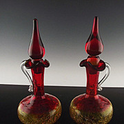 Amberina Crackle Glass Cruets by Rainbow Glass