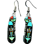 Intricate Stone into Stone Inlay Earrings