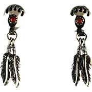 Sterling and Coral Bear's Paw Earrings