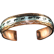 Navajo Copper with Sterling Overlay Bracelet