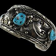 Navajo Sterling Silver and Kingman Nugget Bracelet
