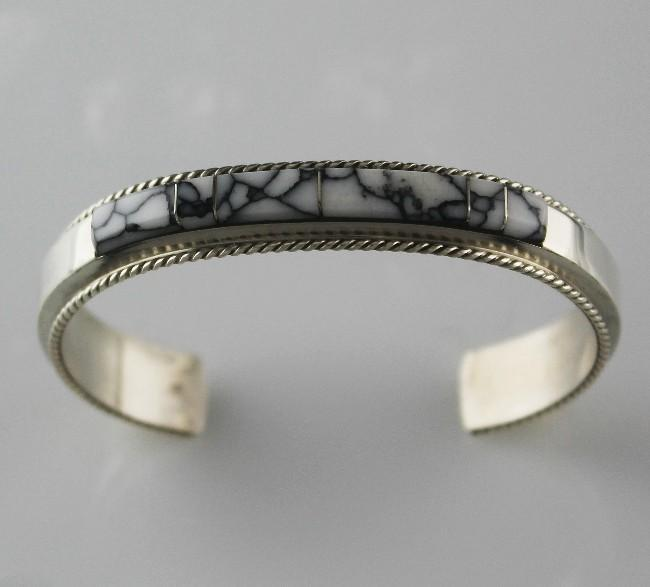 White Buffalo Channel Inlay Bracelet by Fran Yazzie