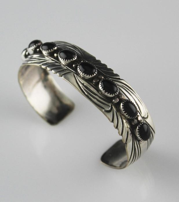 Navajo Sarah Chee Onyx Bracelet