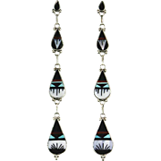 Extra Long Zuni Inlay Earrings