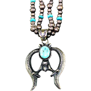Navajo Sterling and Turquoise Naja Necklace
