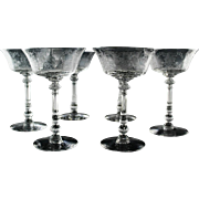 Heisey Orchid Champagne/Champagne Cocktail Glasses ca 1940-1957