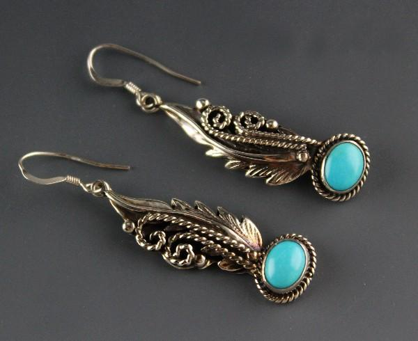 Navajo Sterling and Kingman Turquoise Earrings