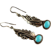 Navajo Sterling and Kingman Turquoise Earrings