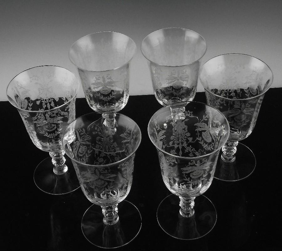 Heisey Orchid Low Water/Tea Cocktail Glasses ca 1940-1957