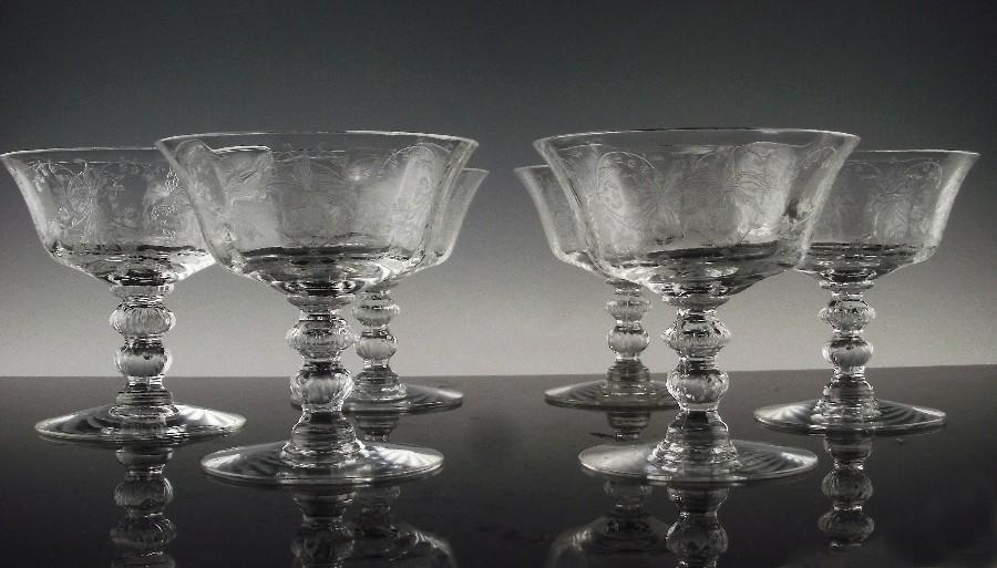 Heisey Orchid Low Sherbet Cocktail Glasses ca 1940-1957